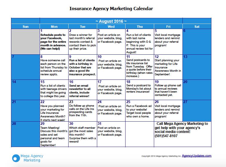 August Insurance Marketing Calendar
