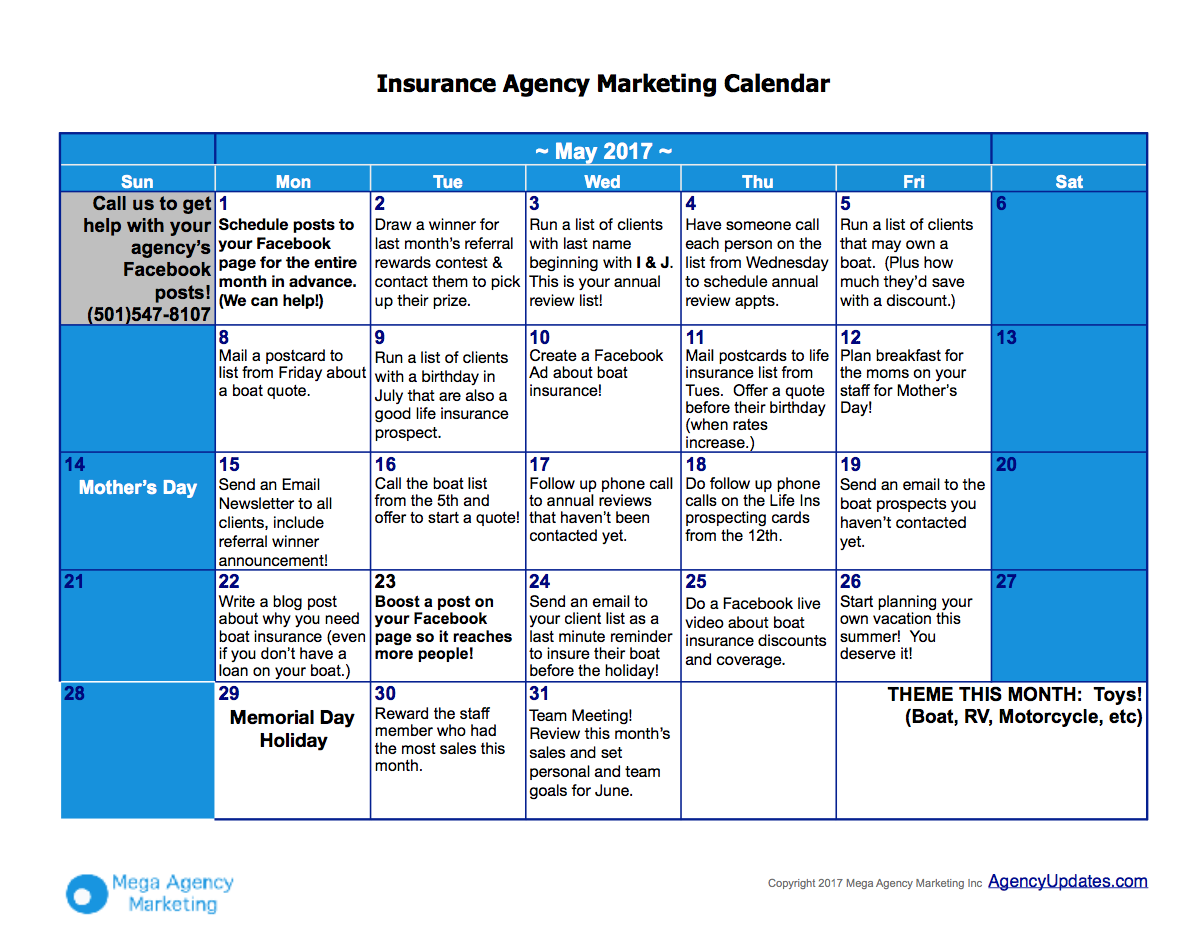 May insurance marketing plan